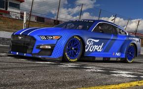 Картинка Mustang, Ford, Ford Mustang, гоночный трек, NASCAR, 2021