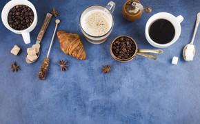 Картинка кофе, шоколад, круассаны