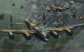 Картинка bomber, art, airplane, aviation, ww2, lancaster