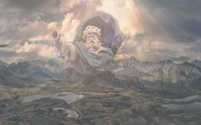 Картинка небо, взгляд, облака, лучи, полет, авиация, горы, природа, лицо, поза, сияние, скалы, холмы, небеса, вершины, …