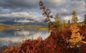 Картинка осень, облака, пейзаж, горы, природа, озеро, Колыма, Максим Евдокимов