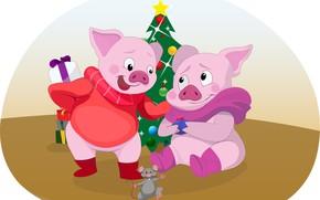 Картинка елка, мышка, Новый год, свинки