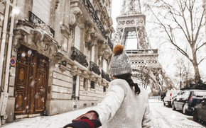 Картинка Love, Paris, Winter, France, Snow, Street, Wallpaper, Woman, Mood