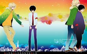 Картинка аниме, арт, парни, Katekyo Hitman Reborn, Учитель мафиози Реборн, радужный фон