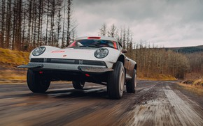 Картинка дорога, лес, 911, Porsche, грязь, Singer, acs, 2021, SCRS, All-terrain Competition Study