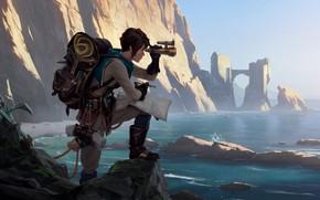 Картинка скалы, побережье, бинокль, Legends of Runeterra