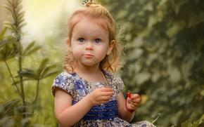 Картинка лето, природа, ягоды, платье, девочка, малышка, ребёнок