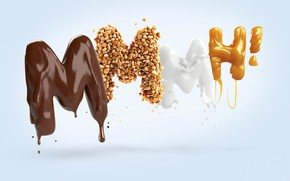 Картинка шоколад, вкус, молоко, сладости, орехи