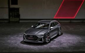 Картинка Audi, помещение, универсал, RS 6, 2020, 2019, тёмно-серый, V8 Twin-Turbo, RS6 Avant
