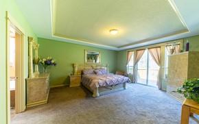 Картинка дизайн, комната, кровать, зеркало, окно, балкон, спальня