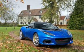 Картинка авто, осень, синий, дом, Lotus, Evora, GT410