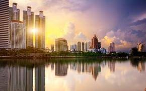 Картинка город, озеро, утро, Тайланд, Бангкок