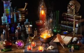 Картинка перо, книги, свечи, магия, ступка, пузырьки, котелок, весы, Хеллоуин, череп, колбы, колдовство
