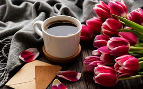 Картинка кофе, букет, тюльпаны, конверт, Olena Rudo