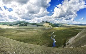 Картинка поле, лес, небо, облака, свет, горы, река, синева, холмы, склоны, весна, даль, долина, простор, Азия, …