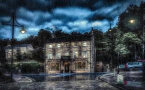 Картинка город, дождь, Pub