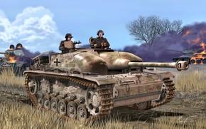Картинка Трава, Дым, Германия, танк, горит, Т-34/85, Вторая Мировая война, Вермахт, Штурмовое орудие, Stug III