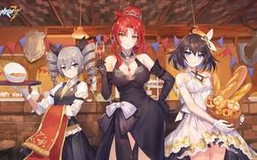 Картинка девушки, еда, таверна, Honkai Impact 3rd