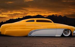 Картинка Hot Rod, Coupe, Yellow, Side, Tuning, Low, Vehicle, Mercury, Modified