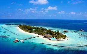 Картинка пальмы, океан, остров, Мальдивы, курорт, лагуна