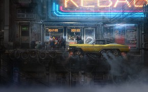 Картинка Авто, Город, Машина, City, Car, Fantasy, Такси, Арт, Art, Фантастика, Taxi, Science fiction, Cyberpunk, Transport ...