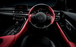 Картинка купе, интерьер, приборы, руль, Toyota, салон, Supra, пятое поколение, mk5, двухместное, 2019, GR Supra, A90, …