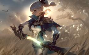 Картинка girl, sword, fantasy, weapon, blue eyes, artist, blonde, digital art, artwork, warrior, fantasy art, fantasy …