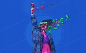 Картинка Робот, Очки, Стиль, Girl, Фон, Fantasy, Крик, Арт, Art, Style, Фантастика, Киборг, Illustration, Sci-Fi, Киберпанк, …