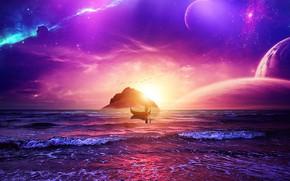 Картинка space, sky, ocean, landscape, sunset, stars, man, purple, galaxy, boat, manipulation, univerce, digital Art