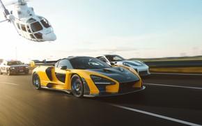 Картинка рендеринг, гонка, McLaren, погоня, Porsche, police, суперкары, Senna