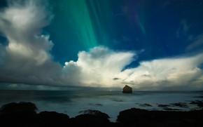 Картинка море, небо, звезды, облака, ночь, природа, скала, темнота, камни, скалы, берег, побережье, красота, даль, северное …