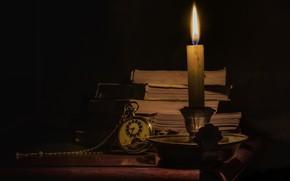 Картинка ретро, часы, книги, свеча