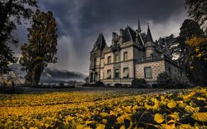 Картинка осень, листья, замок, архитектура