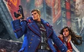 Картинка city, future, red, girl, gun, USSR, police, blue, cyberpunk, coat, force, blackhair, defense, militia, soviet, …
