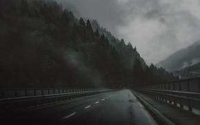 Картинка Дорога, Мост, Лес, Грусть, Мрак, Дождь, Darkness, Bridge, Rain, Road, Forest, Атмосфера, Atmosphere, Дымка, Depression
