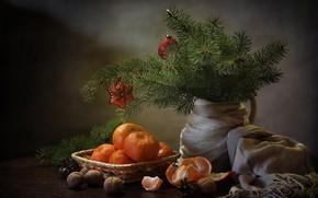Картинка ветки, стол, праздник, игрушки, ель, Новый год, орехи, натюрморт, шишки, цитрусы, шаль, мандарины, Ковалёва Светлана, …