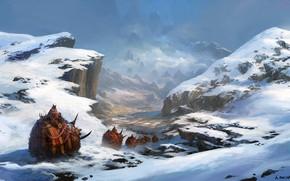 Картинка fantasy, mountains, snow, artist, digital art, artwork, Andreas Rocha, fantasy art, creatures, caravan
