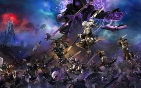 Картинка фэнтези, битва, рыцарь, копьё, скелеты, некромантия, Bless Unleashed