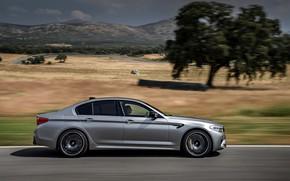 Картинка серый, дерево, растительность, скорость, BMW, профиль, седан, 4x4, 2018, четырёхдверный, M5, V8, F90, M5 Competition