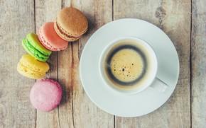 Картинка colorful, coffee cup, french, macaron, чашка кофе, макаруны