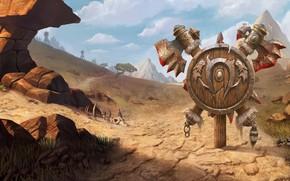 Картинка World of Warcraft, game, desert, mountains, weapons, digital art, artwork, shield, fantasy art, Blizzard Entertainment, …
