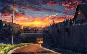 Картинка пейзаж, закат, улица, арт