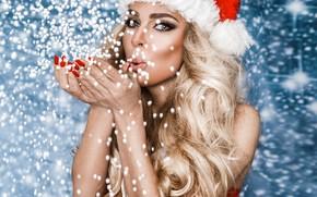 Картинка девушка, праздник, новый год, рождество, блондинка, снегурочка, girl, Christmas, fashion, winter, model, Beauty, фотомодель, Marcin …