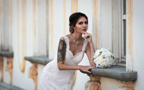 Картинка поза, букет, платье, невеста, Elena