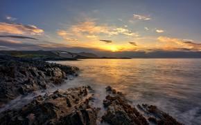 Картинка закат, побережье, Норвегия