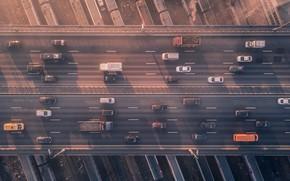 Картинка вагоны, железная дорога, автомобили, путепровод, Сергей Полетаев, Sergei Poletaev
