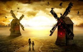 Картинка дорога, дети, мельницы