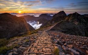 Картинка закат, горы, Madeira, Wonders