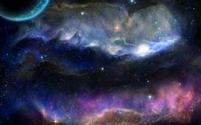 Картинка космос, туманность, планета
