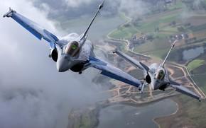 Картинка пара, полёт, многоцелевой истребитель, Dassault Rafale